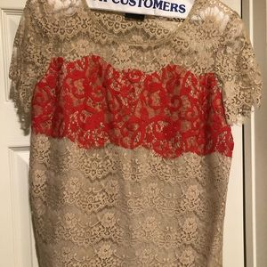 Anthropologie lace short sleeve blouse